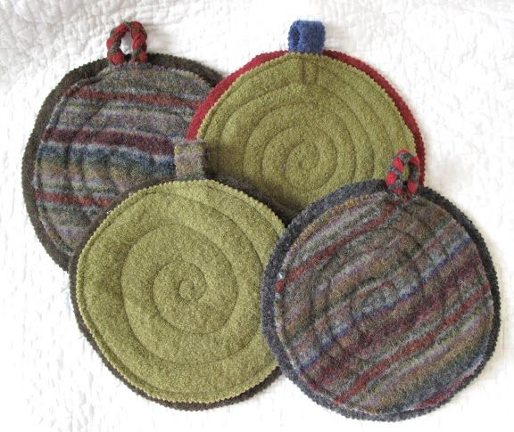 Trivets or pot holders made from felted sweaters - great gift idea