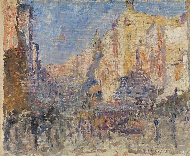 Collins Street (c. 1915):   Frederick McCUBBIN   (Australian. February 1855 Melbourne, Victoria Died December 1917