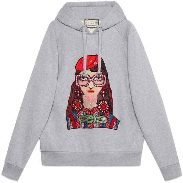 7dfde053 Gucci Unskilled Worker Hooded Sweatshirt found on Polyvore featuring tops,  hoodies, ready-to-wear, sweatshirts & t-shirts, women, oversized hoodies,  gray ...
