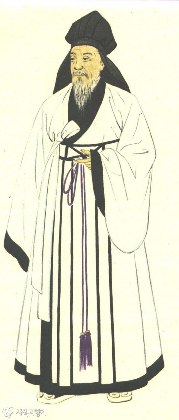 """Shim-eui"" - a kind of clothing important men and scholars wore. Suyang wears this sometimes but without the silly hat."