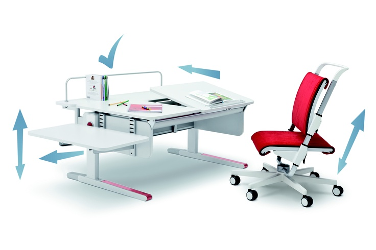 The moll Champion desk can be expanded with the moll Additions while the Scooter chair is fully adjustable.
