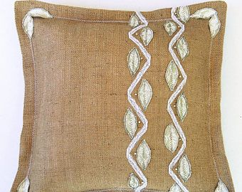 Burlap Pillow Cover Decorative Pillow Vintage Inspired Burlap Cottage Throw Pillow Handmade French burlap case Rustic chic