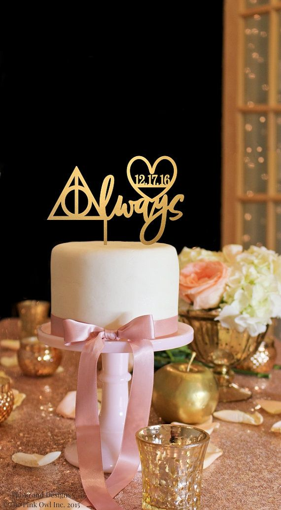 Harry Potter Inspired Cake Topper with Wedding Date - Always Cake Topper - Gold Cake Topper