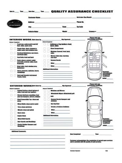 Image result for Car Detail Checklist
