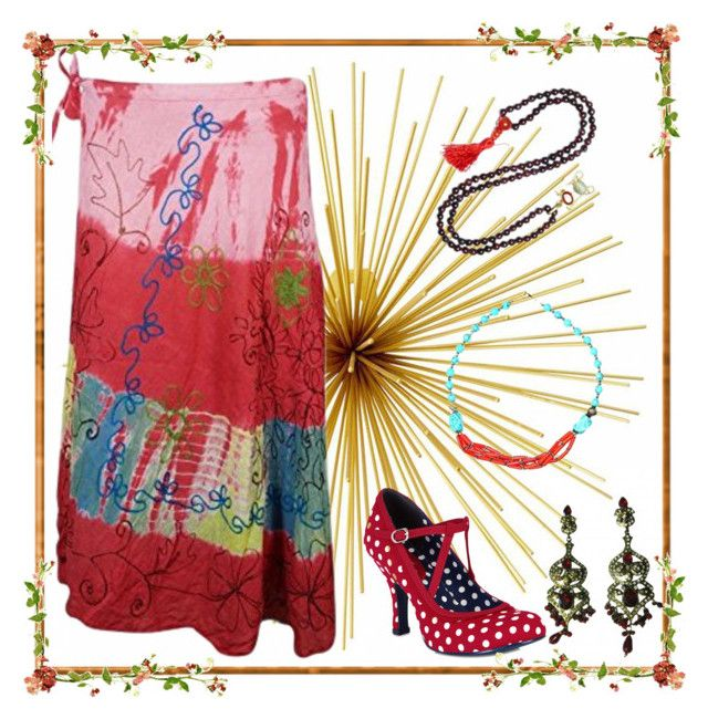 Gypsy Girl Fashion by boho-chic-2 on Polyvore featuring Ruby Shoo, tiedyeskirt, gypsyskirt, rayonskirt and wrepskirt