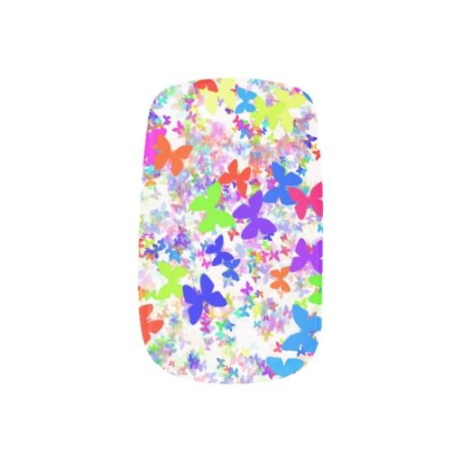 butterfly confetti Minx nails Minx ; Nail Wraps
