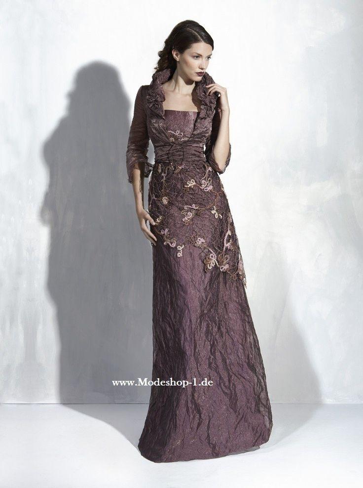 Besticktes High End Abendkleid in Bronze Braun