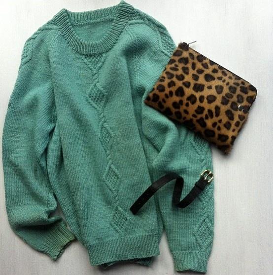 @BOST LTD Leo #Clutch in #leopard #ponyhair - #BOST Axel Cuff in black croc embossed #leather - #vintage BOST #wool #knit #BOSTLTD