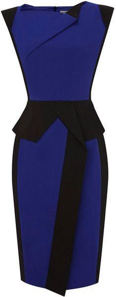 KAREN MILLEN ENGLAND Colourful Sculptural blue monday dress