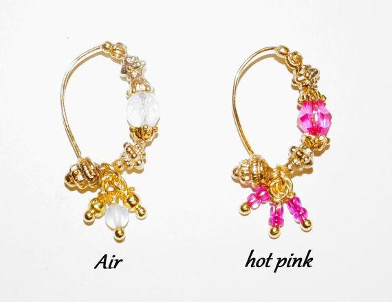 Nose Jewel, nose ring, Gold plated, 20 gauge, Swarovski, Opals. Nostril Jewel