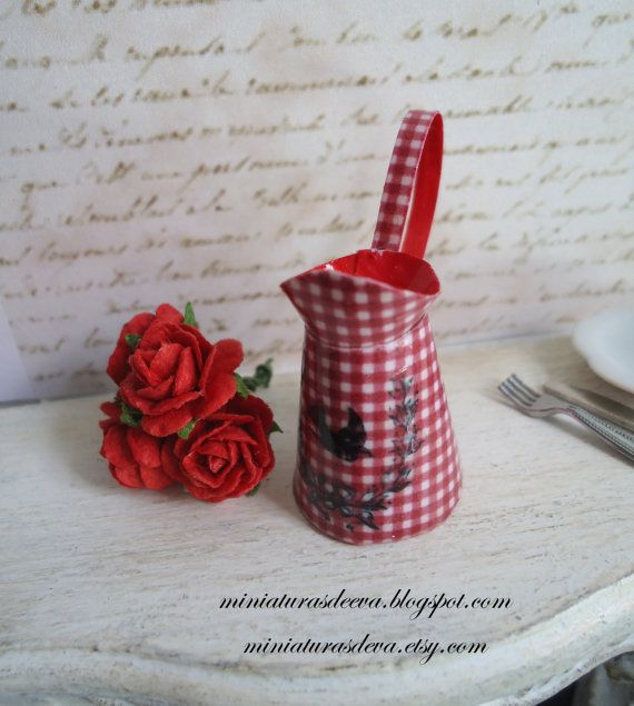 Pitcher Jug with roses. Red cottage. Dollhouse. by MiniaturasDeEva, €5.50