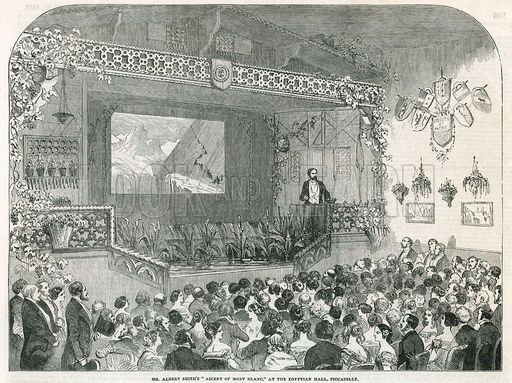 Mr Albert Smith's Ascent of Mont Blanc at the Egyptian Hall, Piccadilly. From the Illustrated London News, 25 December 1852.