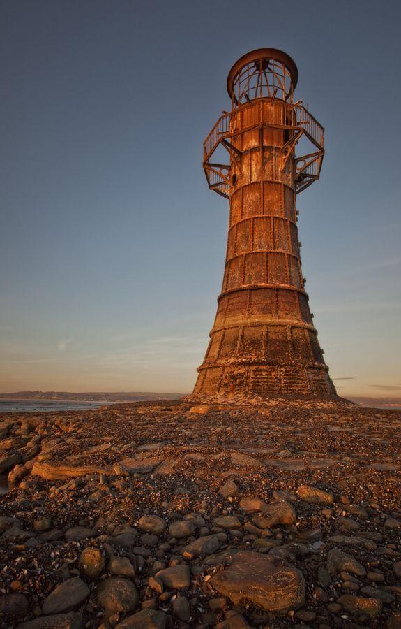Ein Leuchtturm aus Eisen in Wales