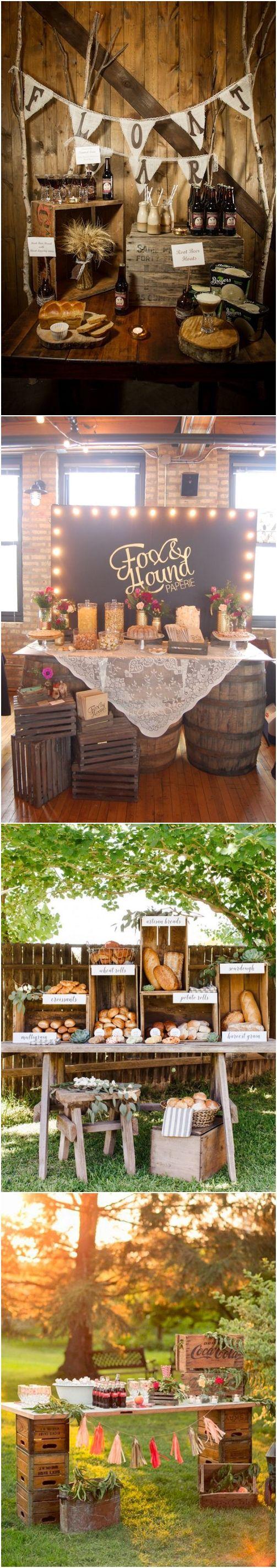 Rustic country wooden crate wedding food bar decor ideas / http://www.deerpearlflowers.com/rustic-woodsy-wedding-trend-2018-wooden-crates/ #rusticweddings #countryweddings