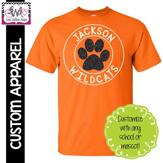 CUSTOM APPAREL: Custom School Spirit T-Shirt with Glitter, Customize with your team, school or mascot!