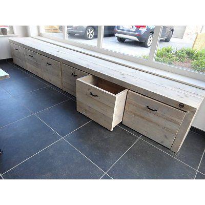 PURE wood design Opbergbank steigerhout #mooi