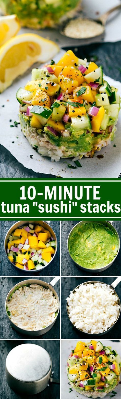 Use a CUP MEASURER to make SUSHI!! Tuna Sushi Stacks -- easy, healthy, kid-friendly, and delicious plus there is a simple sriracha mayo! Recipe via http://chelseasmessyapron.com