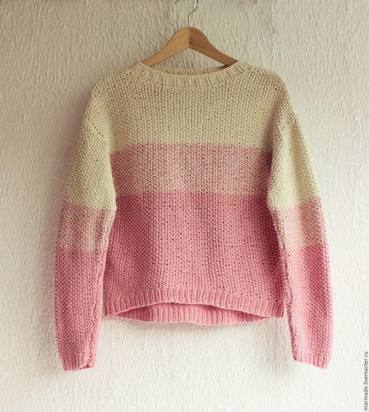 Купить Вязаный хлопковый свитер Неженка - в полоску, свитер, ручная вязка, розовый, уютный, нежный