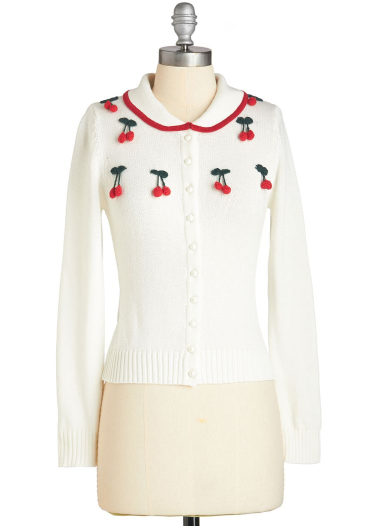 Cherry on Your Sunday Cardigan - White, Red, Embroidery, Casual, Vintage Inspired, 50s, 60s, Fruits, Food, Long Sleeve, Winter, Collared, White, Long Sleeve, Short, Buttons