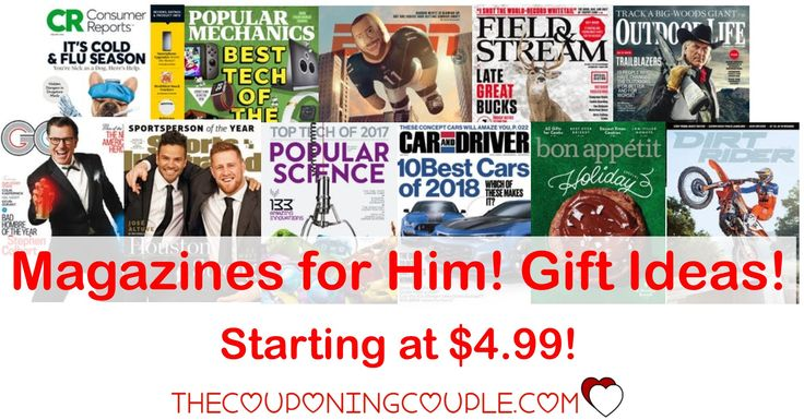 Great gifts for him! Discount Mags starting at only $4.99! Lots of mags to appeal to him! GQ, ESPN, Sports Illustrated, Field & Stream and more!  Click the link below to get all of the details ► http://www.thecouponingcouple.com/discount-mags-gift-for-him-starting-at-4-99year/ #Coupons #Couponing #CouponCommunity  Visit us at http://www.thecouponingcouple.com for more great posts!