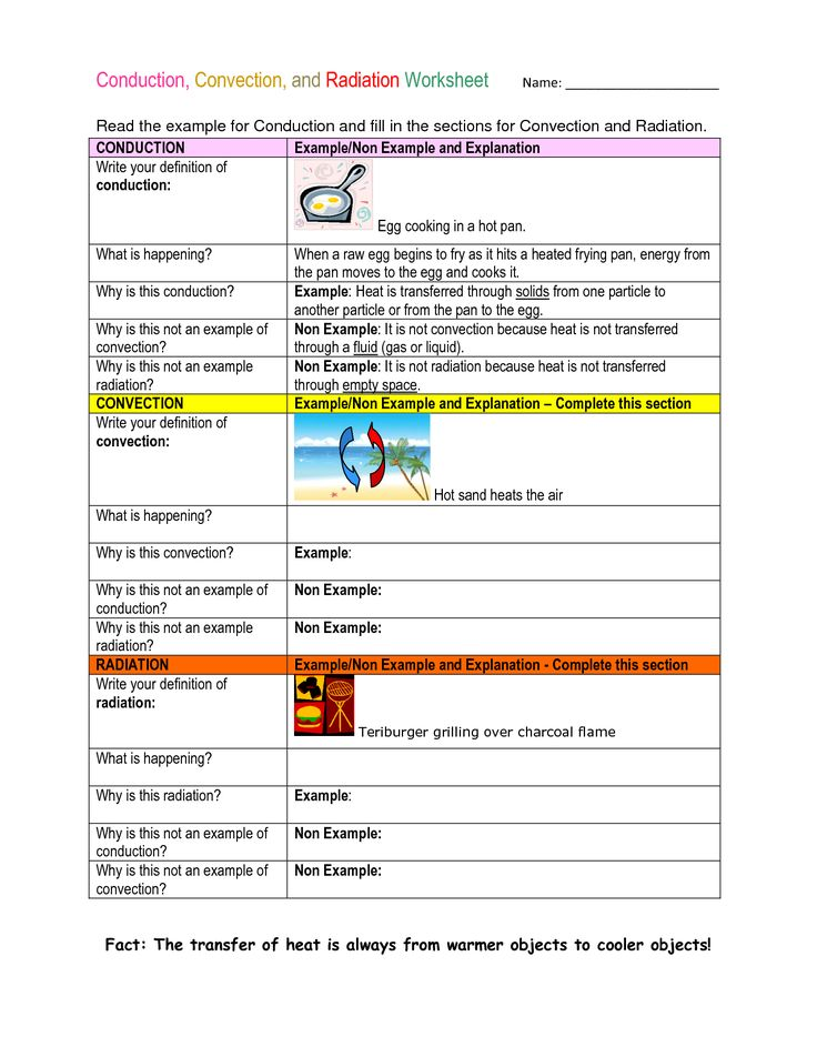 Conduction Convection And Radiation Worksheet My 7th