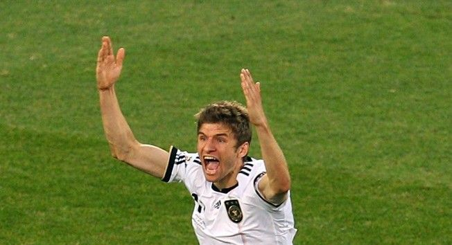 BLOEMFONTEIN, SOUTH AFRICA - JUNE 27: Thomas Mueller of Germany celebrates scoring his side's third goal during the 2010 FIFA World Cup South Africa Round of Sixteen match between Germany and England at Free State Stadium on June 27, 2010 in Bloemfontein, South Africa. (Photo by Cameron Spencer/Getty Images)