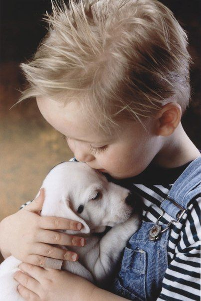 Puppy love and sweet kisses.