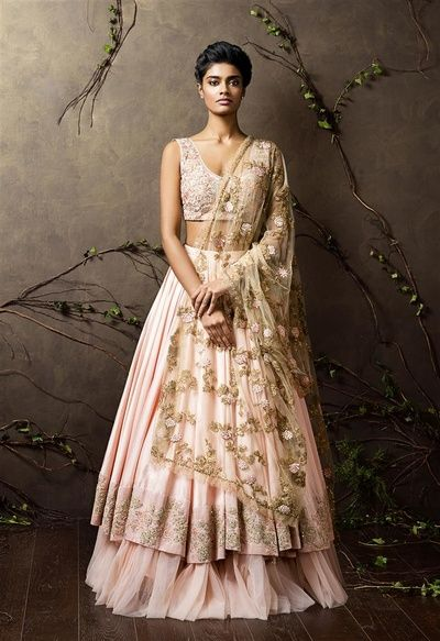 sleeveless blouse, double layered lehenga, frill lehenga, light pink lehenga…