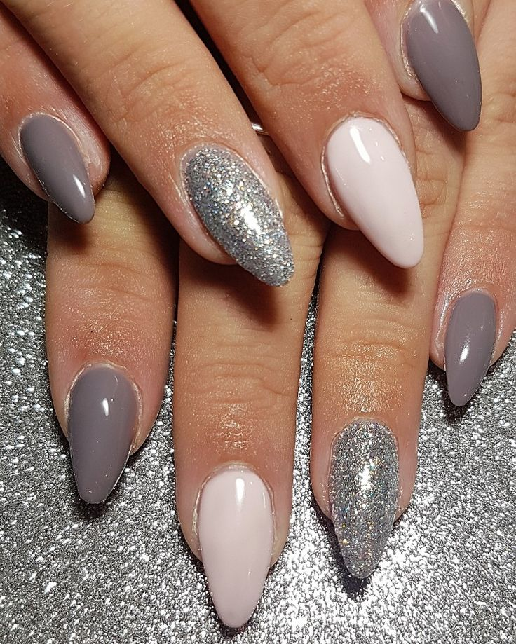 Gel overlay pink and grey nails with silver glitter