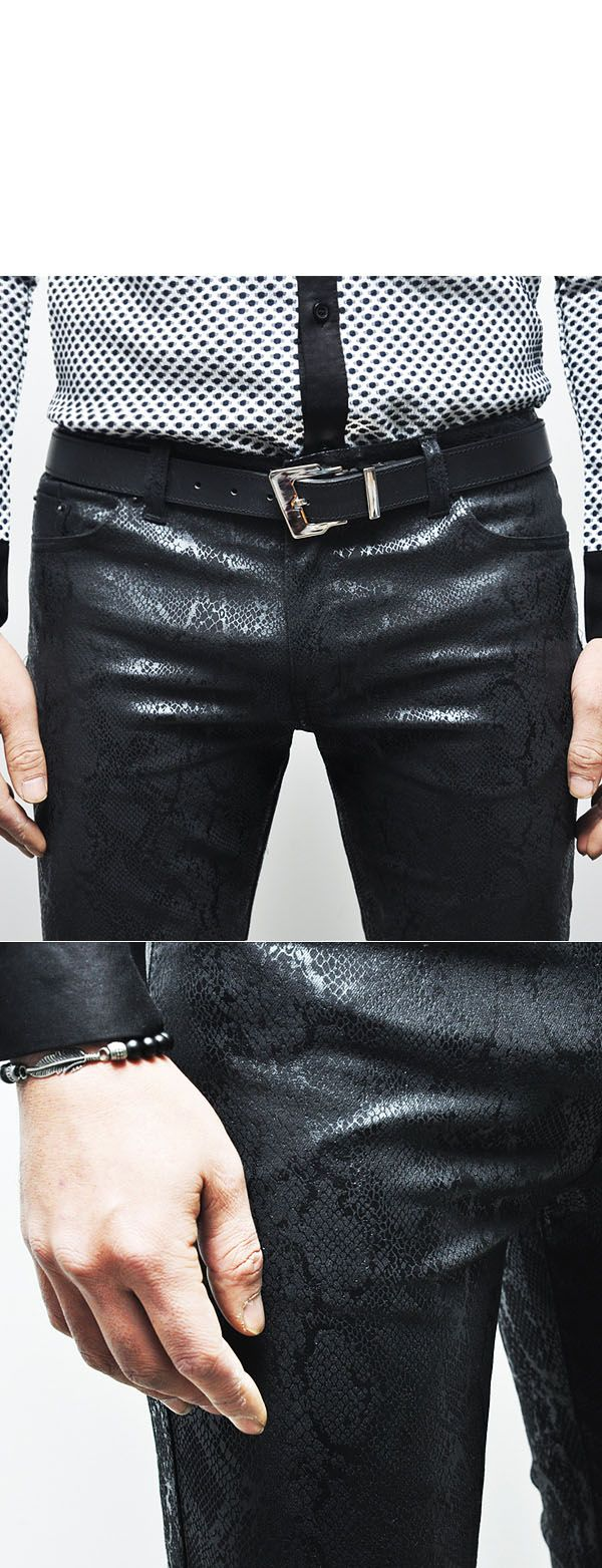 Pants :: Snakeskin Leather Skinny Biker-Pants