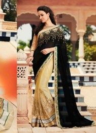 Latest Black Color Designer Wedding Sari With Beautiful Embroidery Work