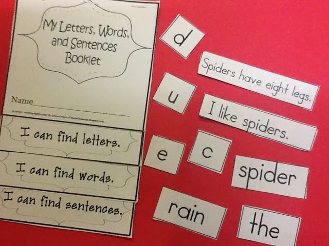Concepts of Print: Sorting Words, Letters, Sentences Booklet (free; from Christina's Kinder Blossoms)