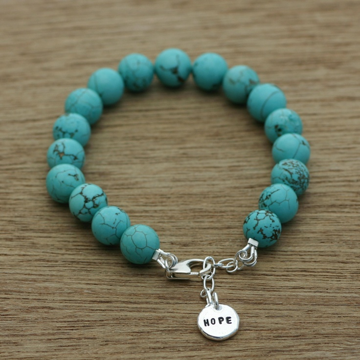 Handmade 100% recycled sterling silver and dyed howlite.    Any word you like can be stamped on the silver droplet. Max 5 letters.    This bracelet has a nice chunky weight to it. Semiprecious beads are 10mm    to fit average wrist size and is adjustable. Please specify if you are in need of a large size.