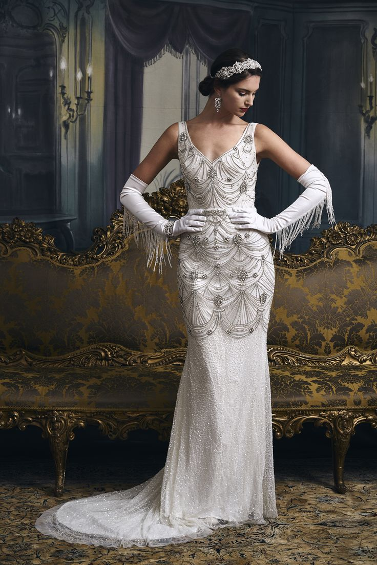 Beautiful Vintage inspired old school hollywood glamour beaded wedding dress Gatsby cape with detatchable skirt by Eliza Jane Howell Try it on at a pop up one week