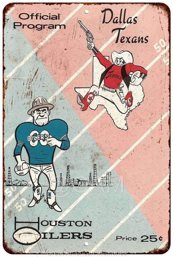 1960 Dallas Texans vs Houston Oilers Vintage Reproduction Sign 8x12 8122134