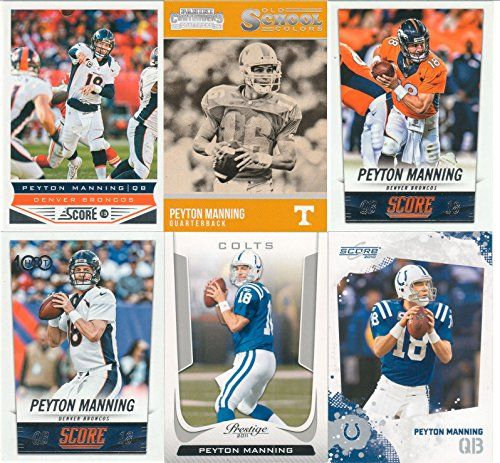 Peyton Manning 6 Card Gift Lot Including 2015 Score, 2014 Score Regular and Hot 100, 2013 Score, 2011 Prestige and 2010 Score Cards Picturing Him in His Broncos and Colts Jerseys