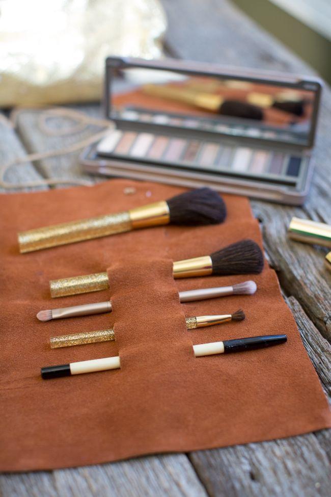 DIY: leather makeup brush holder