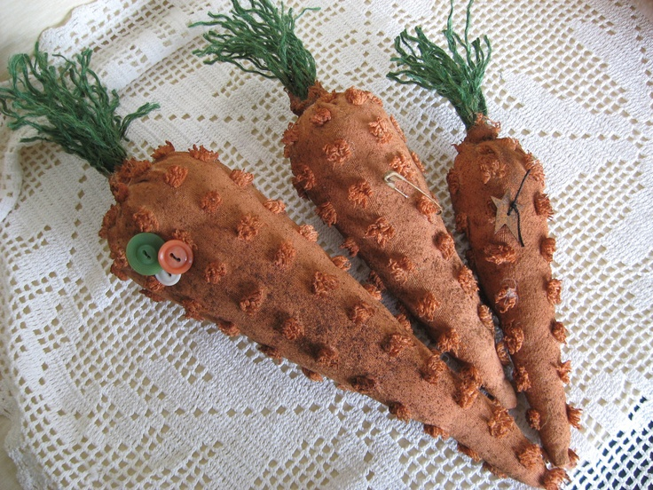 Primitive Carrot Trio - 3 Chenille Carrot Bowl Fillers, Make Dos, Spring, Easter - Prim Chenille Carrots with Green Jute Tops. $6.99, via Etsy.