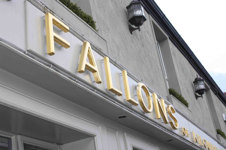 Fallons sign This signis 40mm raised gold leaf letters with backlit LEDs. sign in kildare and Kilcullen