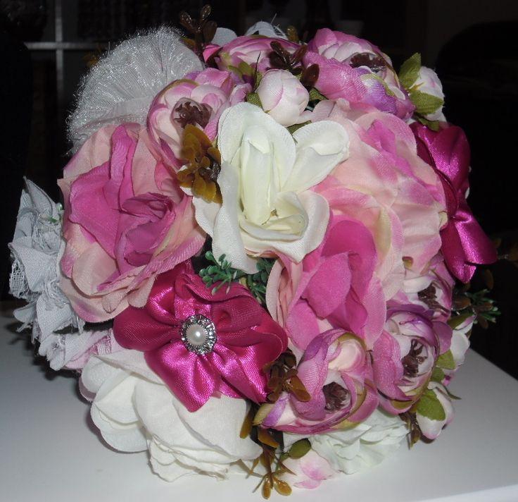 Gorgeous Handmade Fabric & Brooch Bouquet, AU$65.00