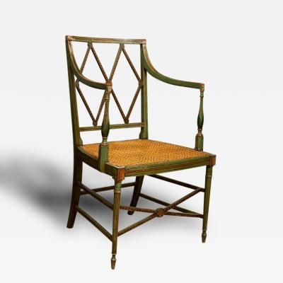 English Regency Era Painted Wood Arm Chair