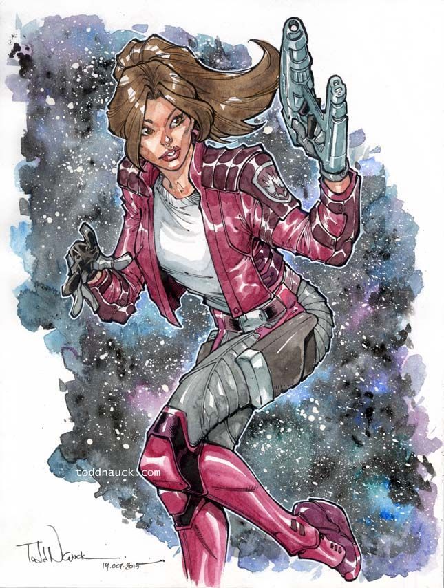 toddnauck: Kitty Pryde/Star Lady. finished watercolors and background wash. *