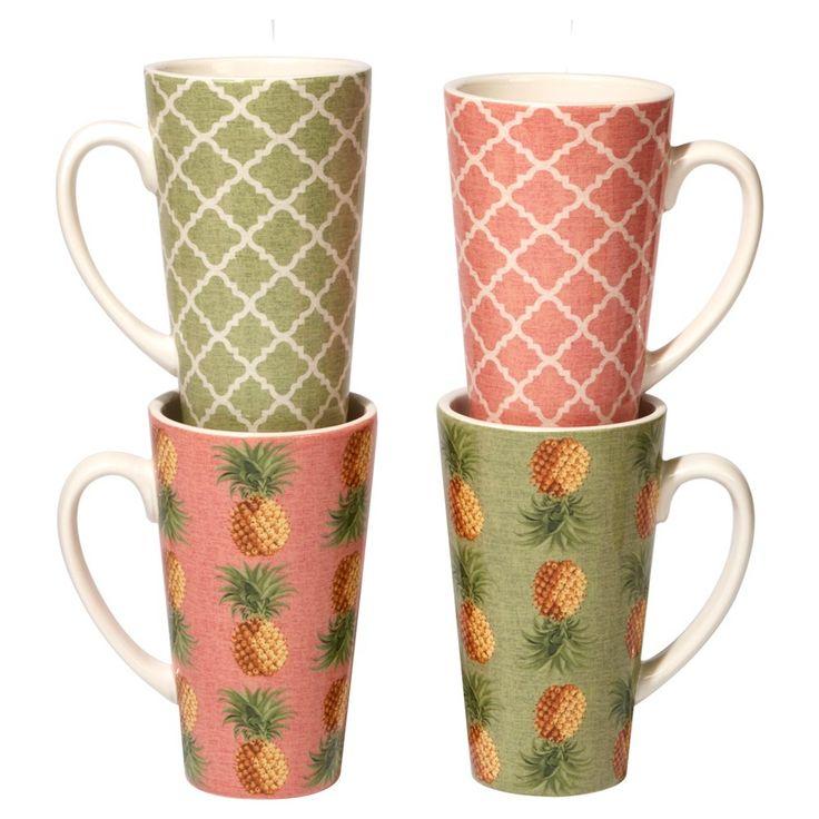 Certified International Floridian by Katie Pertiet Ceramic Latte Mugs 16oz Green - Set of 4