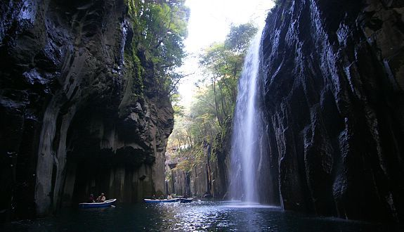 Takachiho is a town located in Nishiusuki District, Miyazaki Prefecture, Japan. Takachiho Gorge, located in the southern part of town, is fairly famous as a tourist attraction. Takachiho Gorge is a narrow chasm cut through the rock by the Gokase River.