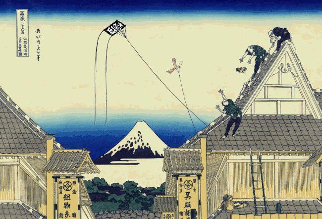 浮世絵に新幹線や宇宙船、エイリアンとレーザービームや戦闘機が登場したり、UFOが富士山を拉致したりと思わず江戸にタイムスリップしてしまう、江戸と現代や未来が交錯している楽しいGifアニメ。