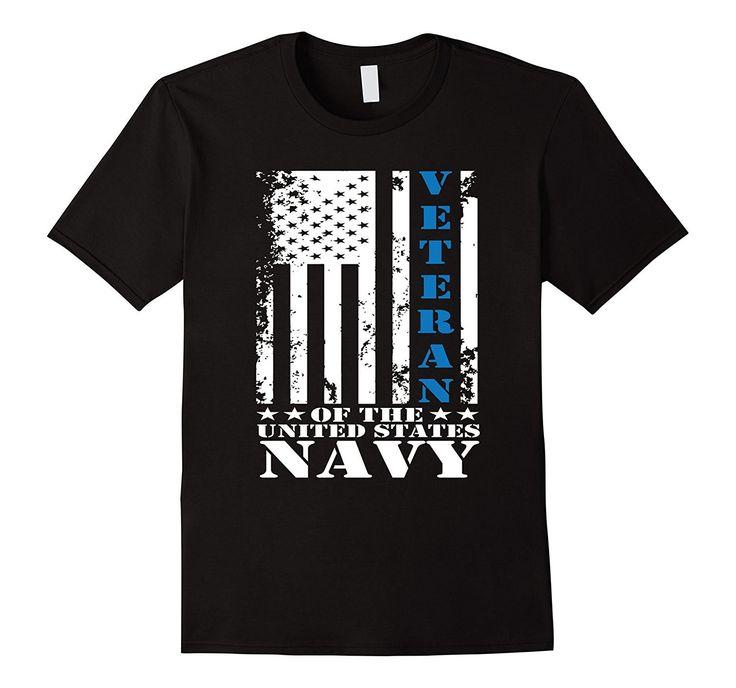 US Navy Veteran American Flag Blue Line Shirt