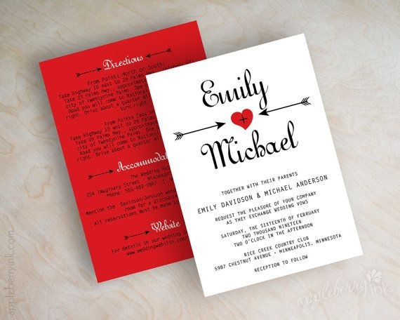 Valentine wedding invitations, arrows, heart wedding invitations, red wedding invites, wedding invitation, red, black, FREE shipping, Cupid