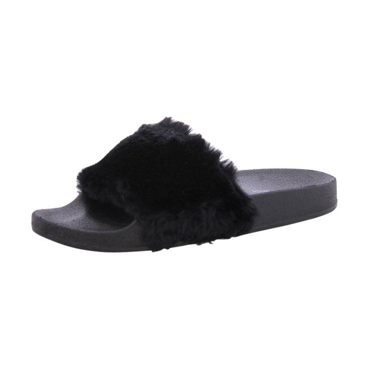 Top Moda -Women's Faux Fur Slide Flip Flop - Black