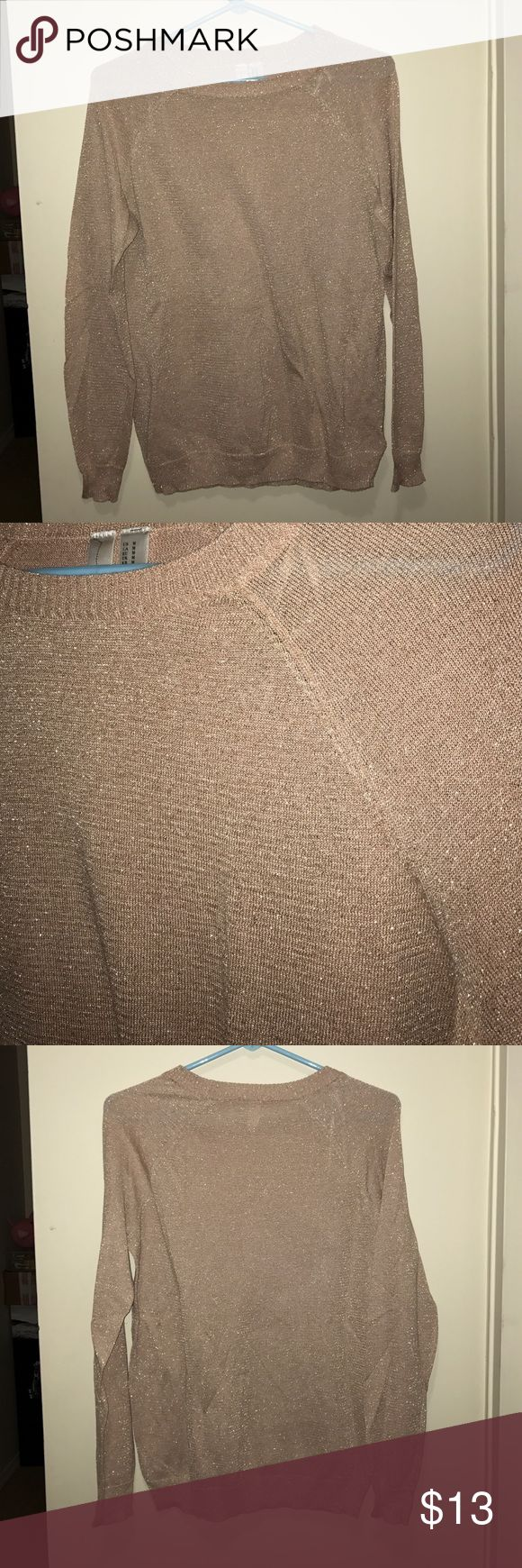 Gorgeous tan top with hints of gold Long sleeve top tan with hints of gold great condition 76% viscose 15% polyester 8% metallic Forever 21 Sweaters