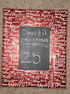 Christmas Chalkboard Countdown with wrapping paper mod-podged onto wood frame.